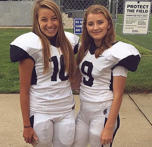 Ruth Fiander, left, and Lauren Dietrick, right, are kickers for Trojan football