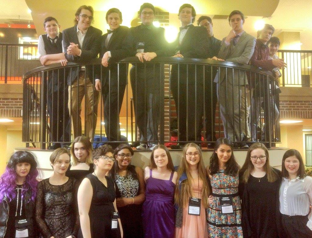Topeka High Thespians pause for a group picture during Conference.