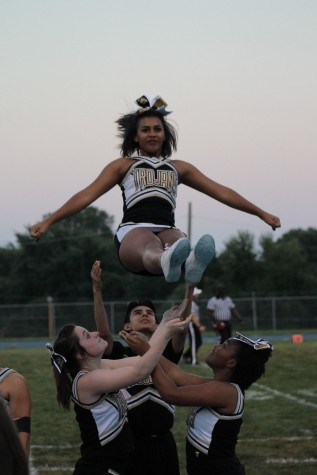 Alyanna Myrick, coming down from a stunt inbetween plays.