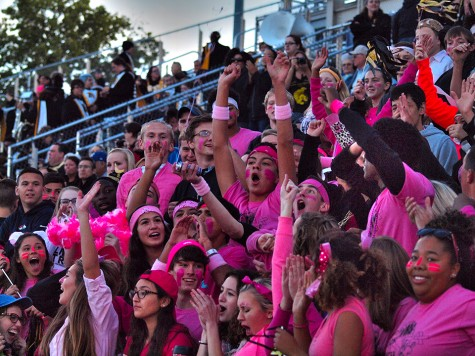 Topeka High's student section in their pink attire to raise Breast Cancer Awareness.