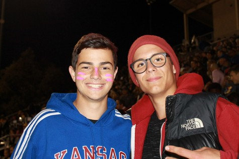 Foreign exchange students Luca Guarnier, junior, and Paul Fuld, junior during the Homecoming game.
