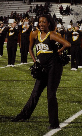 Lydeah Kearse, senior, dancing with the Trojan Dance Team during the halftime performance.