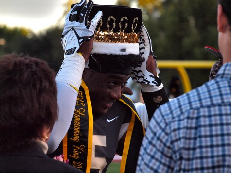 Mike McCoy, senior, being crowned Topeka High School's 2015 Homecoming King.