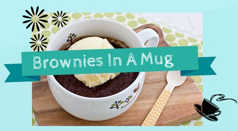 Curve chocolate cravings with a brownies in a mug
