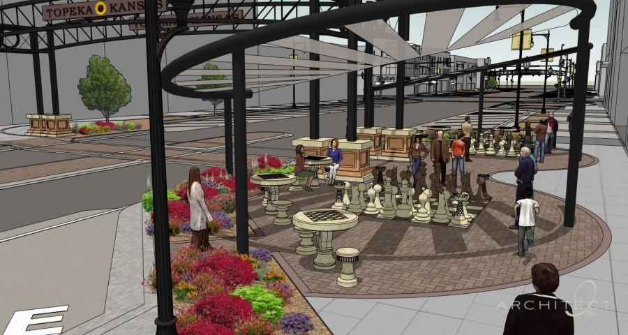 A picture of concept art for Clayton Financial Services pocket park on S Kansas Ave. While Clayton Financials park will feature aspects such a life-sized chess, other will feature an array of fountains, statues, and light displays.