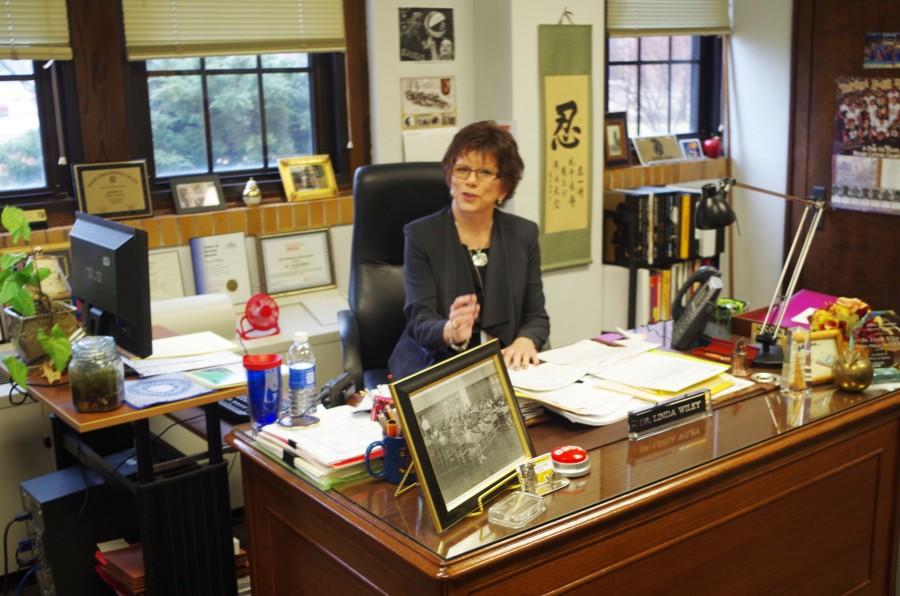 In her office Dr. Wiley finishes up paper work for the end of the day.  Over the past 10 years Linda Wiley has been principal and plans to retire at the end of the school year.  The kids (students) are why Im here and the kids are important, Wiley said.