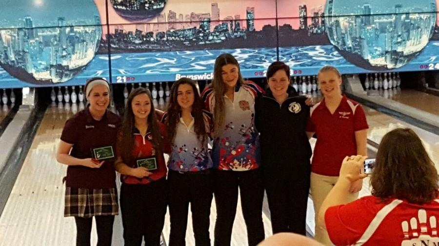 Carley Sullivan, second from the left, at the Lawrence Free State invitational, where she placed fifth.
