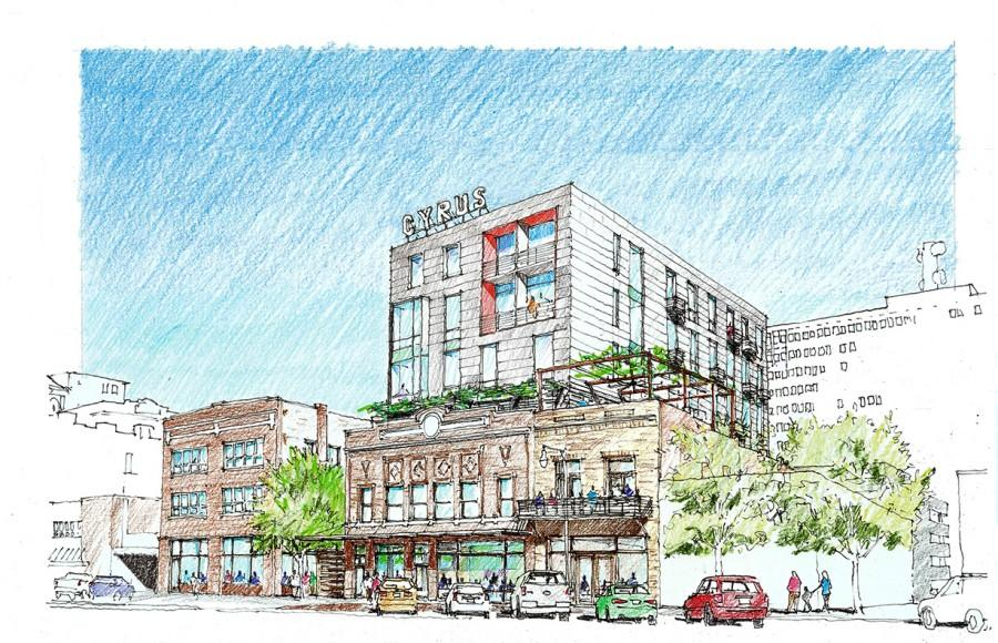 Concept art showing a view of the proposed Cyrus Hotel from the end of the 900 Block of S Kansas Avenue.