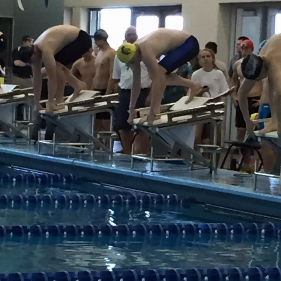 Walker Ricks, senior, preparing to dive in and swim the 100 Fly.