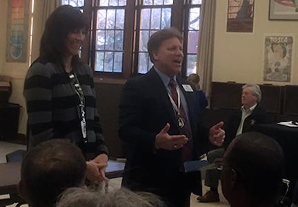 Dr.  Michael Hester introduced new principal Rebecca Morrisey to the staff. Morrisey was approved by the school board March 24 to become Topeka Highs next principal.
