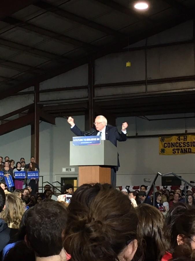 Bernie Sanders speaks to crowd in Lawrence