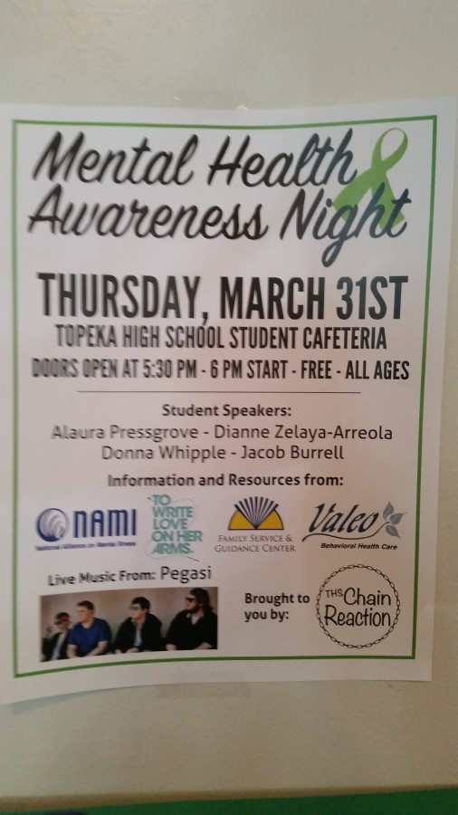 A poster hanging in the school for the Mental Health Awareness Night
