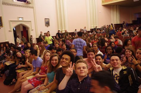 A group of seniors have fun preceding the assembly. Photo by Erin Mumford