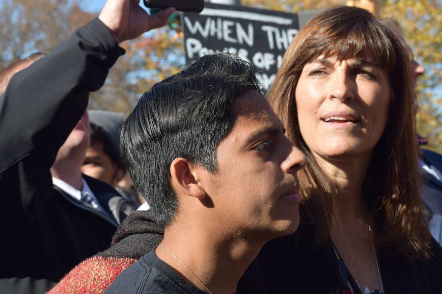 Angelo Campos, senior, and Rebecca Morrisey, principal, at the Unity Walk.