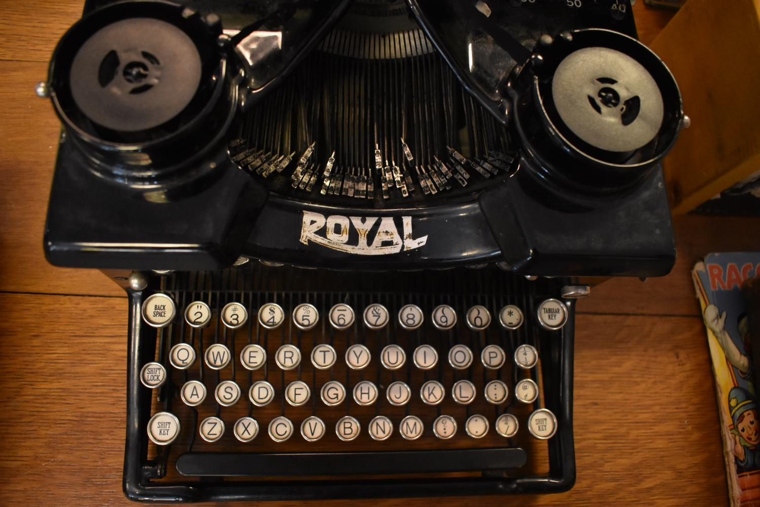 This typewriter, placed on a table in The Dusty Bookshelf, helps to display some of the classic books they have to offer.