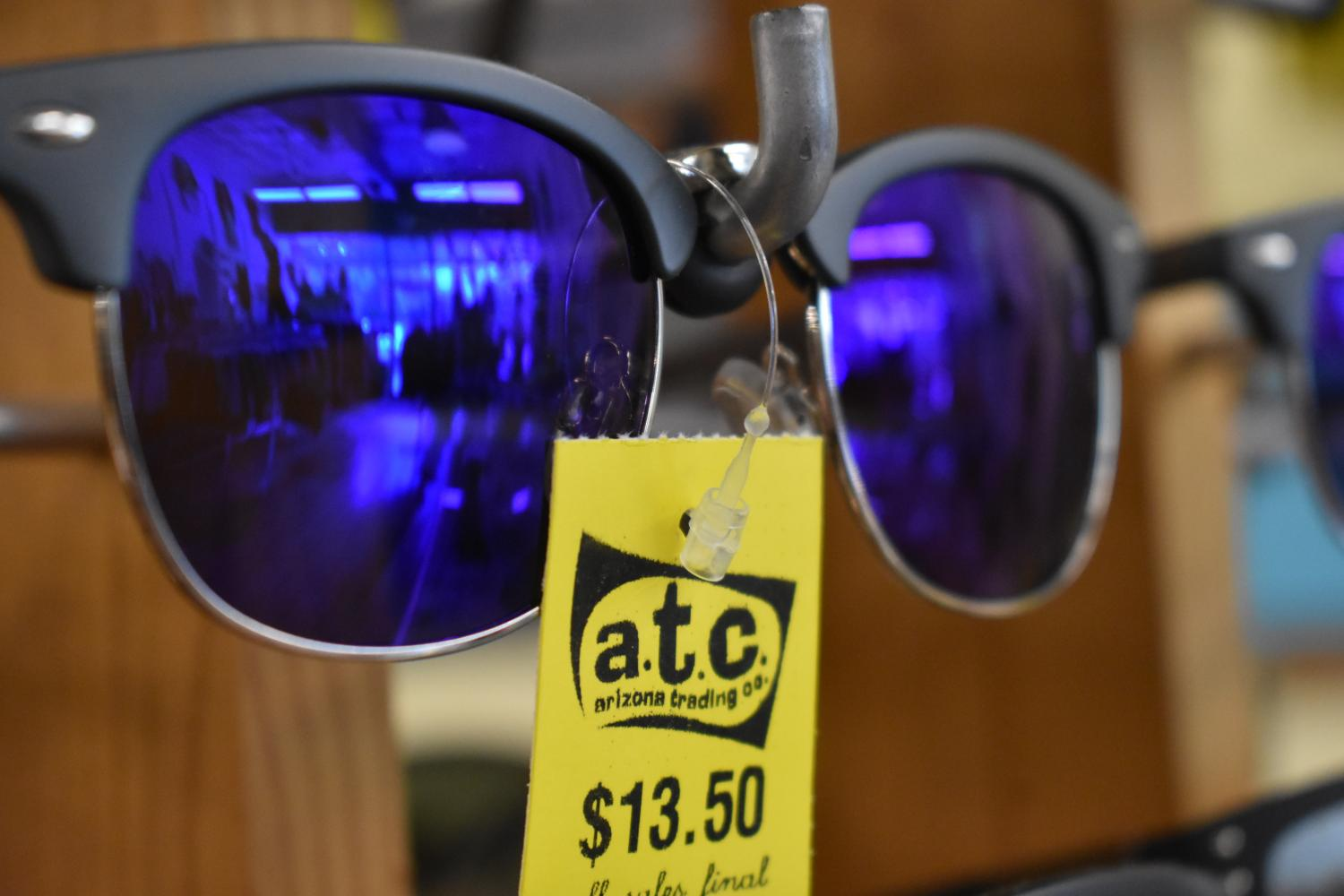 Glasses displayed at Arizona Trading Co., a secondhand clothing store in downtown Lawrence.