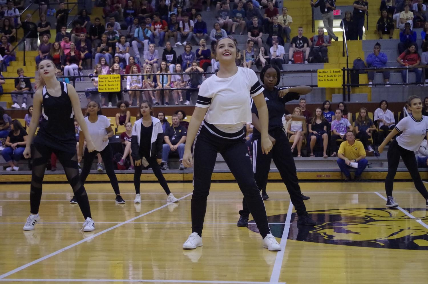 The+dance+team+performs+at+the+pep+rally.+