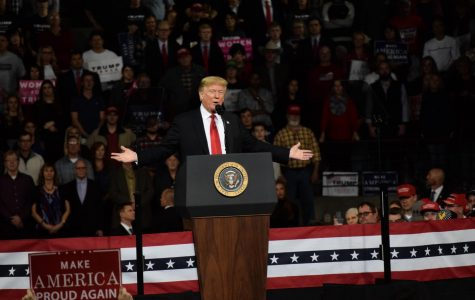 President Trump speaks to the crowd. Photograph by William Hendrix.