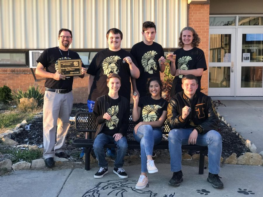 The winners of the scholars bowl tournament. Pictured are, Mr. Smith, George Klucykowski, James Peck, Nate Routsong, Tristan Niles McCulloch, Alexia Hercules, Steven Desch.