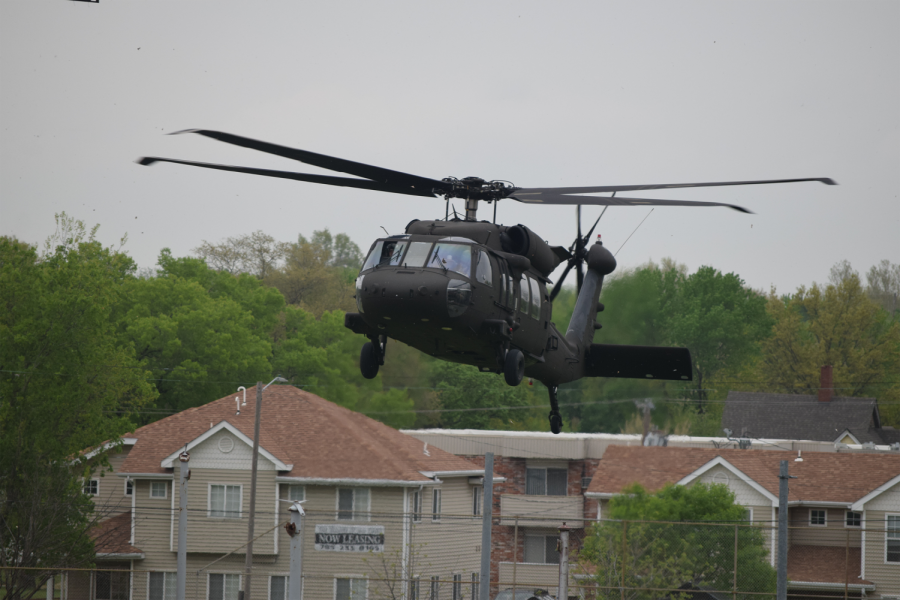 A+UH-60+Black+Hawk+Helicopter+touches+down+on+the+northern+field+behind+Topeka+High.+
