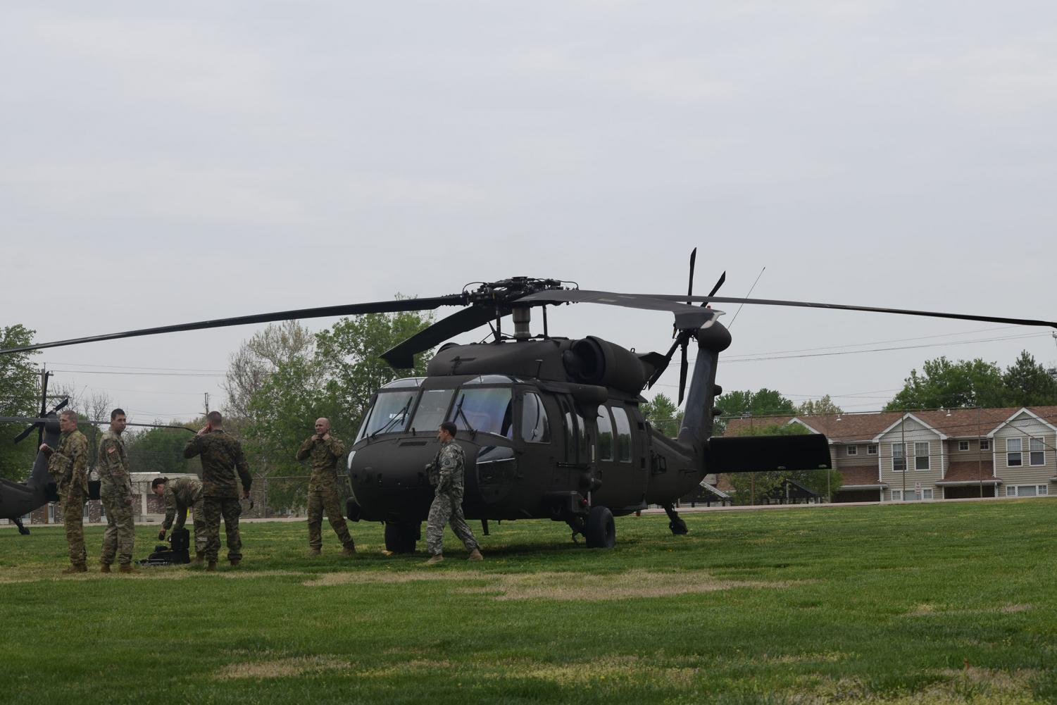 A+Black+Hawk+Helicopter+sits+at+rest+before+cadets+boarded.+